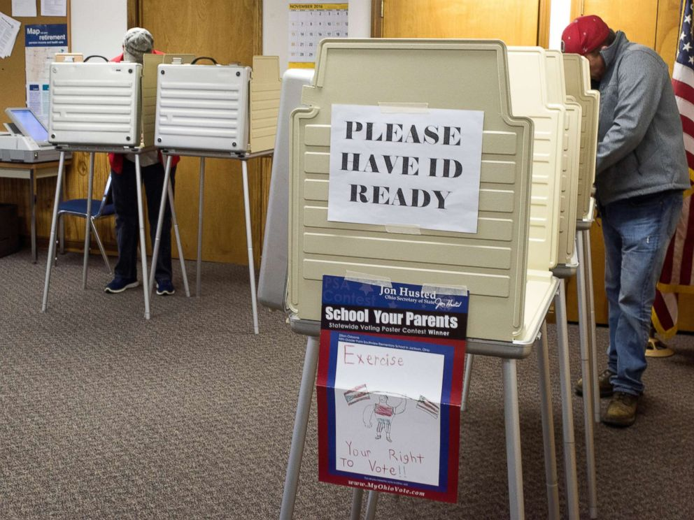 PHOTO: Voters cast their ballots at voting booths at the Butler Township Garage during Ohios General Election on Nov. 8, 2016 in Butler, Ohio.