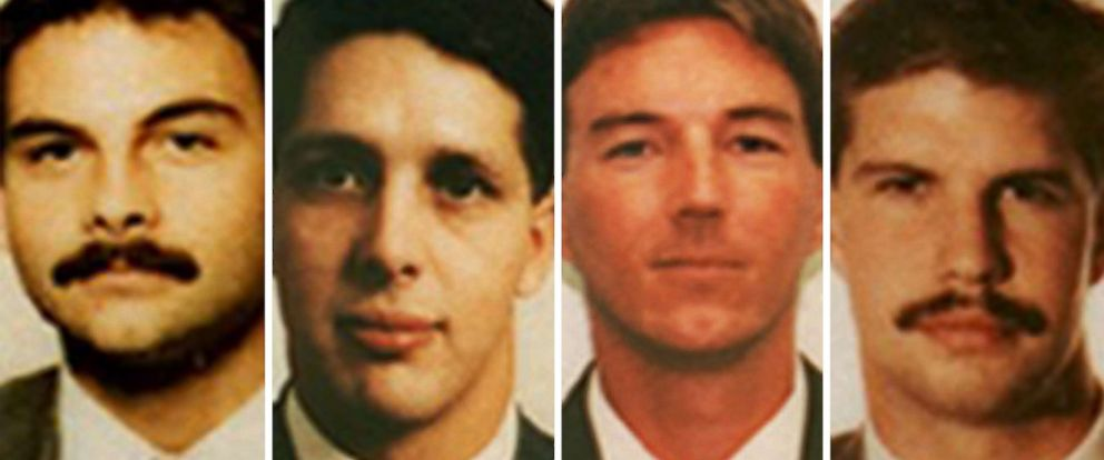 PHOTO: Badge photos of the four ATF agents who were killed during the raid in Waco, Texas on Feb. 28, 1993: Conway LeBleu, Todd McKeehan, Steven Willis, and Robert Williams.