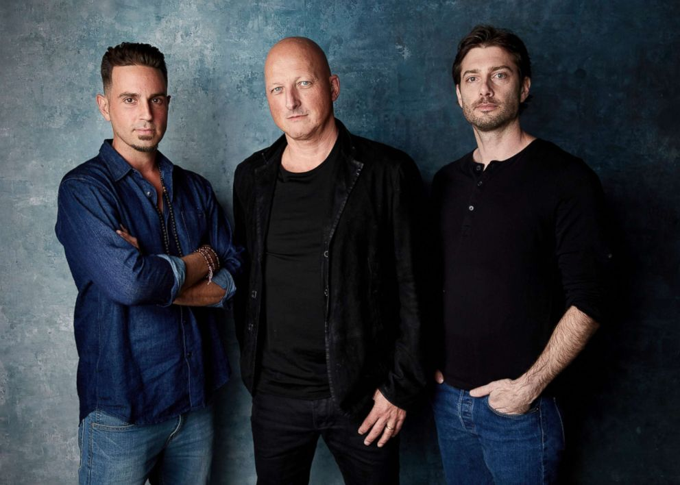 PHOTO:From left, Wade Robson, director Dan Reed and James Safechuck promote the film Leaving Neverland during the Sundance Film Festival in Park City, Utah, Jan. 24, 2019.