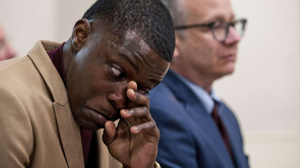 James Shaw Jr. wipes his tears as he was praised during a press conference in Nashville, Tenn., April 22, 2018.