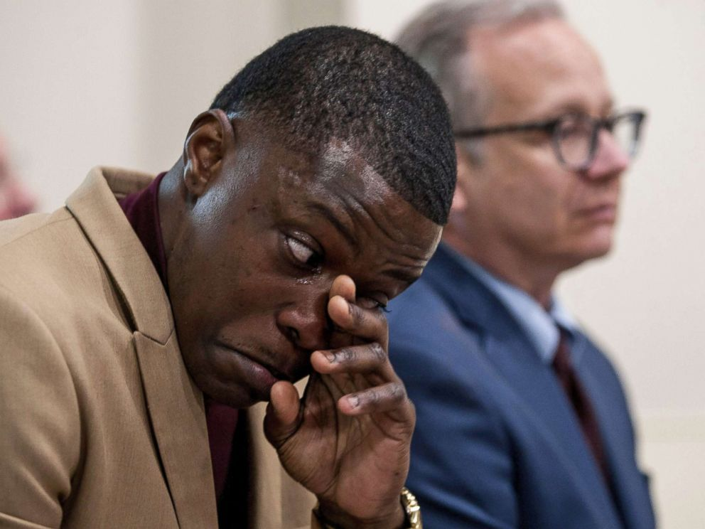 PHOTO: James Shaw Jr. wipes his tears as he was praised during a press conference in Nashville, Tenn., April 22, 2018.