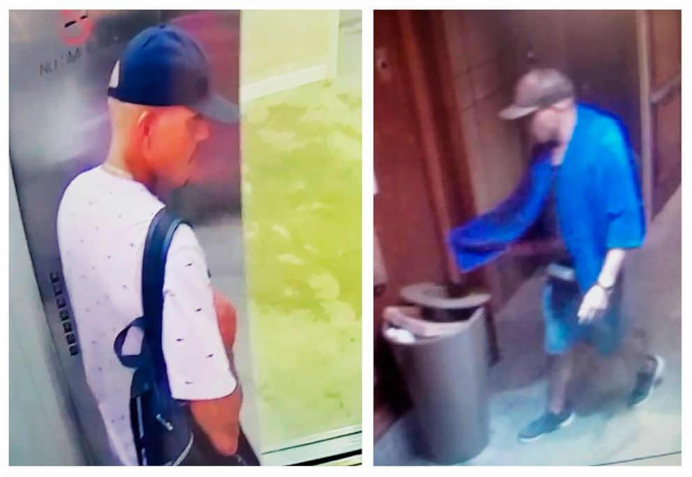 PHOTO: This combination of images made from surveillance video shows a man seen at Alohilani hotel on Sunday, Aug. 4, 2019, left, and at Hilton Hawaiian Grand Waikikian on Tuesday, Aug. 6, near Waikiki Beach in Hawaii.
