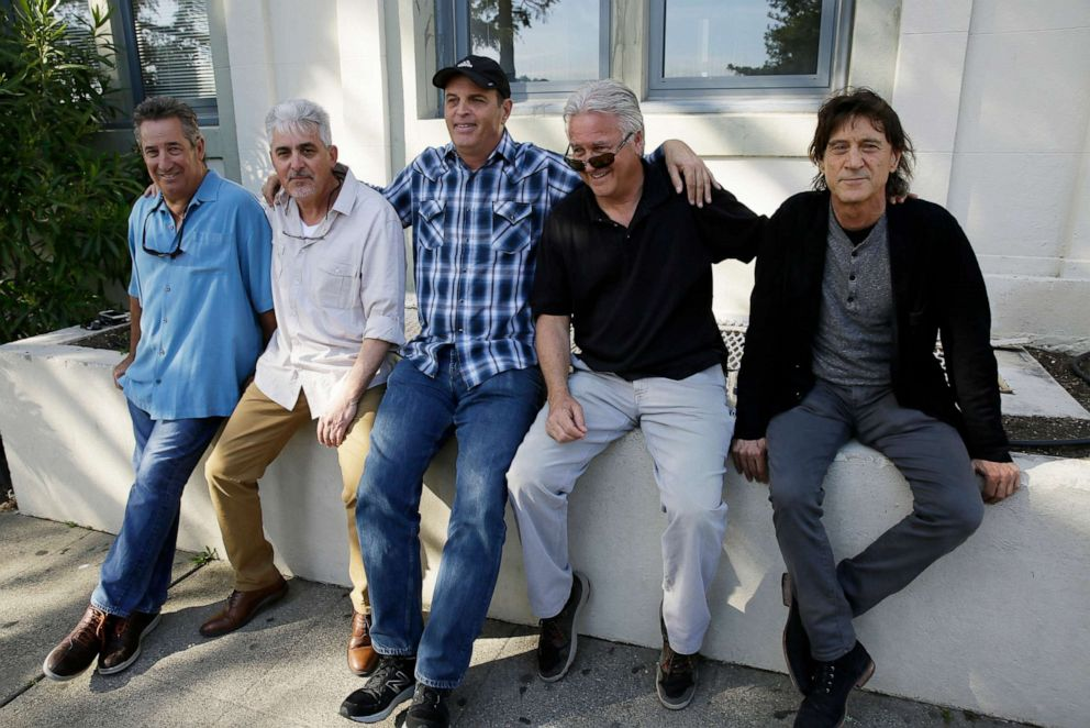 The Waldos, from left, Mark Gravitch, Larry Schwartz, Dave Reddix, Jeffrey Noel and Steve Capper sit on a wall they used to frequent at San Rafael High School in San Rafael, Calif., on, April 13, 2018. The five Northern California high school stoner buddies... more The Waldos, from left, Mark Gravitch, Larry Schwartz, Dave Reddix, Jeffrey Noel and Steve Capper sit on a wall they used to frequent at San Rafael High School in San Rafael, Calif., on, April 13, 2018. The five Northern California high school stoner buddies are widely credited with creating the shorthand slang for getting high.Eric Risberg/AP