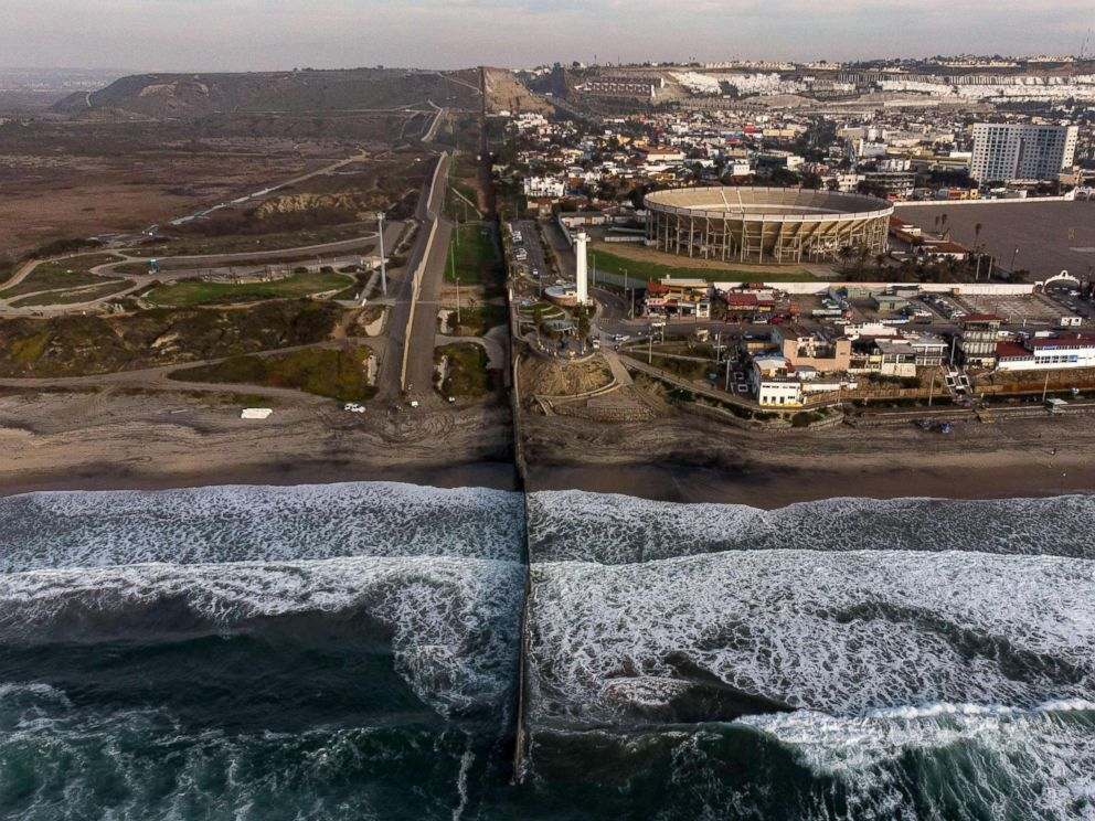 PHOTO: An aerial view of the US-Mexico border fence seen from Playas de Tijuana, Baja California state, Jan. 11, 2019.