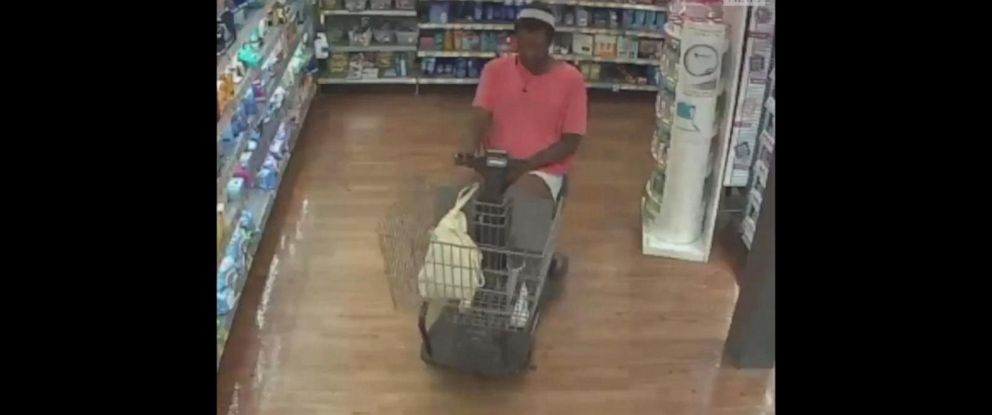 PHOTO: Police are asking for the publics help to locate a suspect in a motorized shopping cart who allegedly stole a Walmart shoppers wallet in Clearwater, Fla., on April 1, 2019.