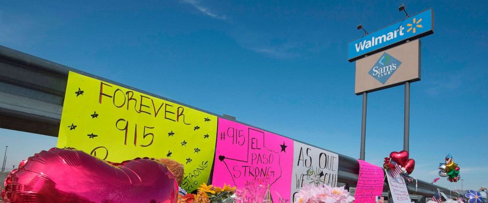 PHOTO: Flowers and signs at a makeshift memorial after the shooting that left 21 people dead at the Cielo Vista Mall WalMart in El Paso, Texas, Aug. 5, 2019.