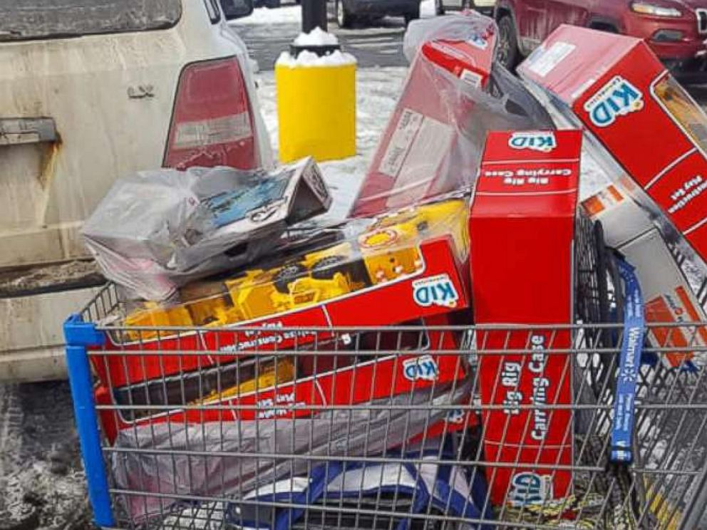 PHOTO: A mystery man paid off the entire lot of layaway items for customers at a Walmart store in Derby, Vermont.