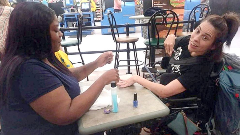 Walmart cashier steps in to polish disabled woman's nails when salon refuses