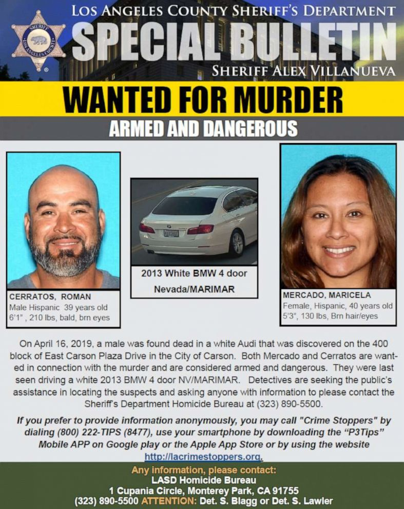 PHOTO: Maricela Mercado, 40, and Roman Carratos, 39, are wanted in connection with a homicide in Carson, Calif.