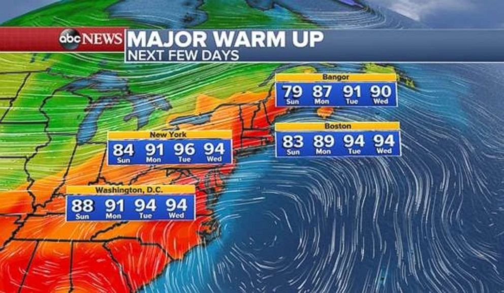 A heat wave could be in the offing for parts of the East Coast to start the work week.