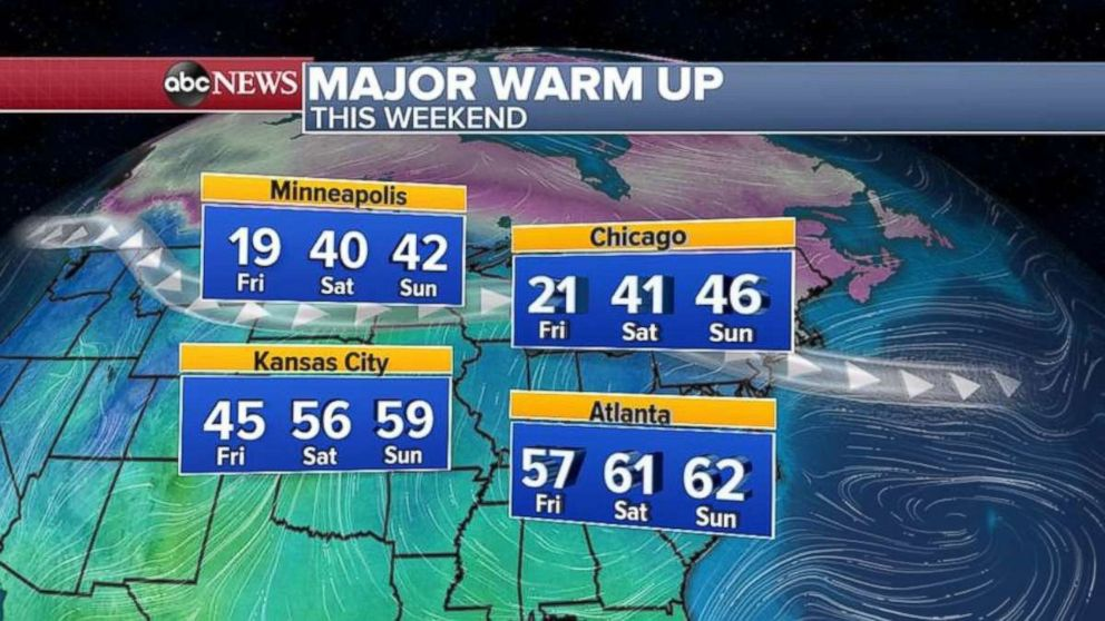 PHOTO: The cold temperatures will break by the weekend across the eastern U.S.