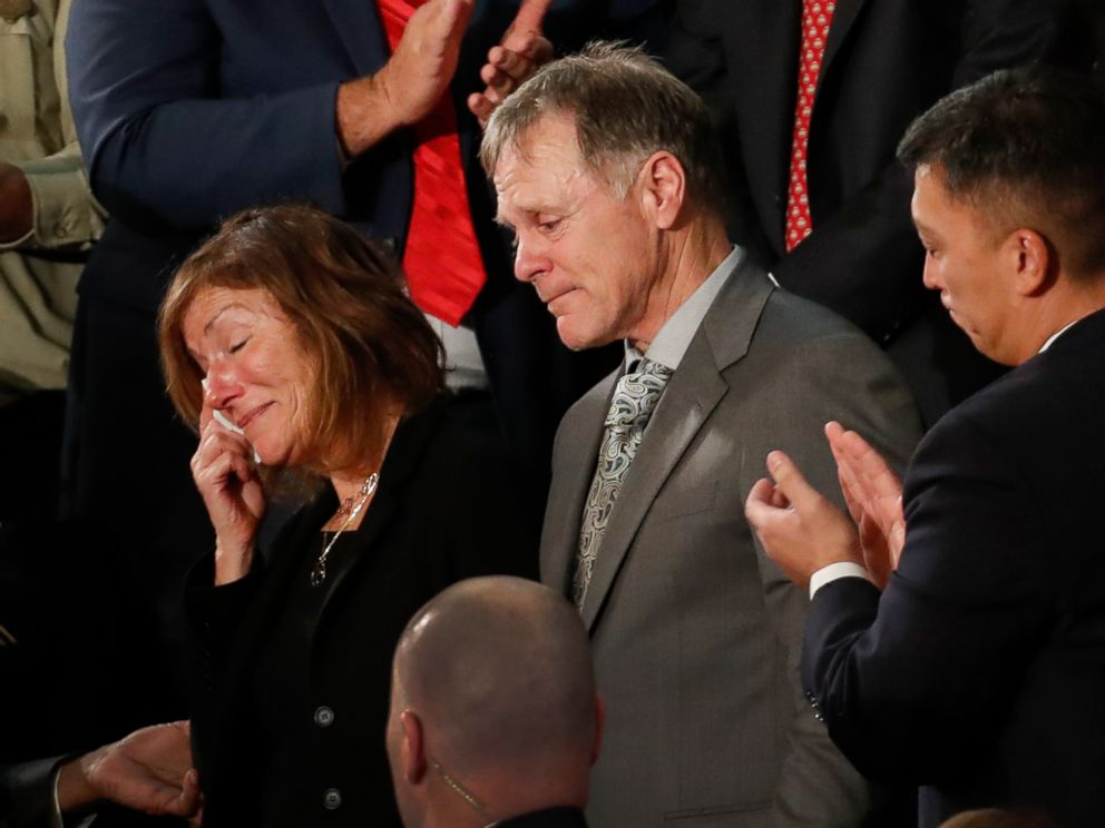 PHOTO: The parents of Otto Warmbier react to a standing ovation during State of the Union address to a joint session of Congress on Capitol Hill in Washington, Jan. 30, 2018.