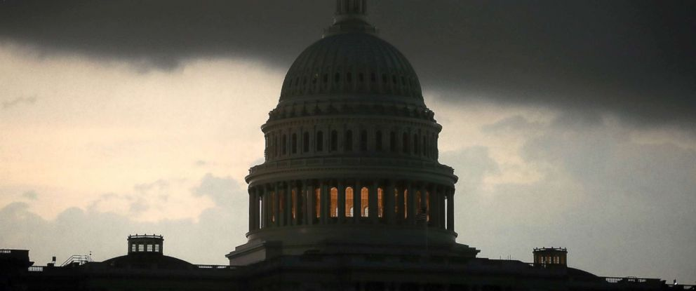 PHOTO: The front of a severe thunderstorm passes over the U.S. Capitol, May 14, 2018, in Washington, DC.