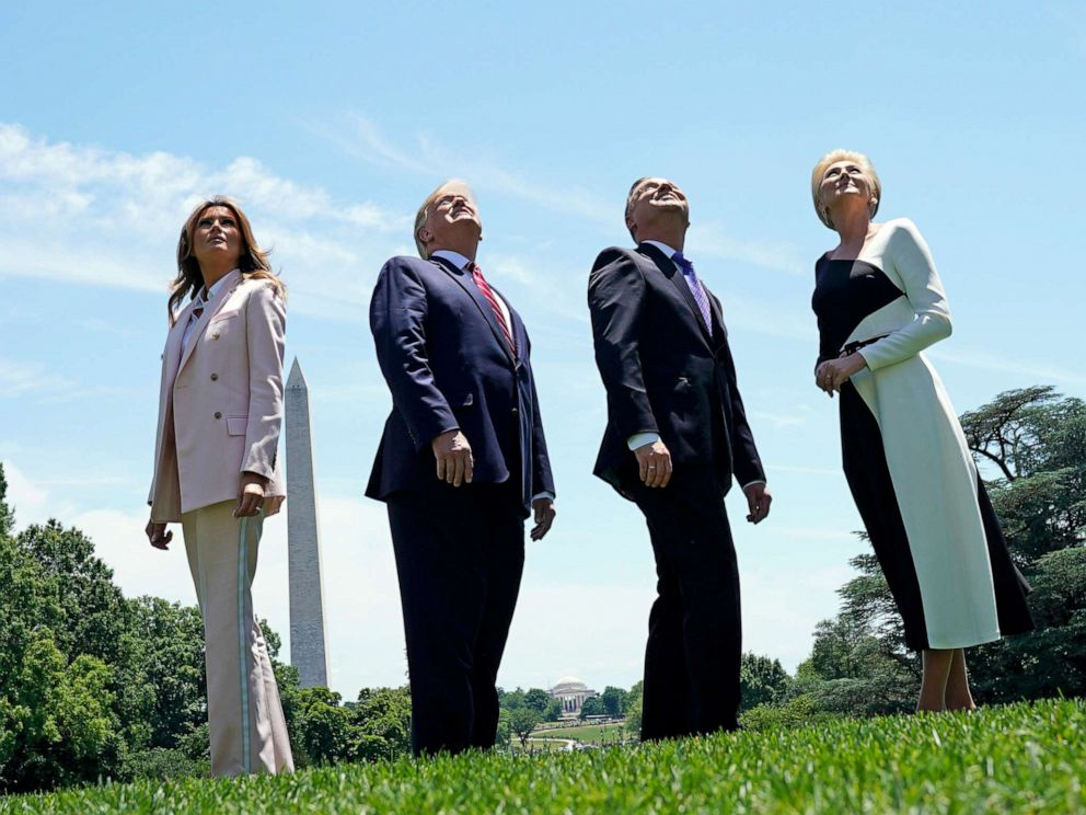 PHOTO: President Donald Trump and first lady Melania Trump watch for an approaching flyover with Polands President Andrzej Duda and his wife, Agata Kornhauser-Duda at the White House in Washington, June 12, 2019.