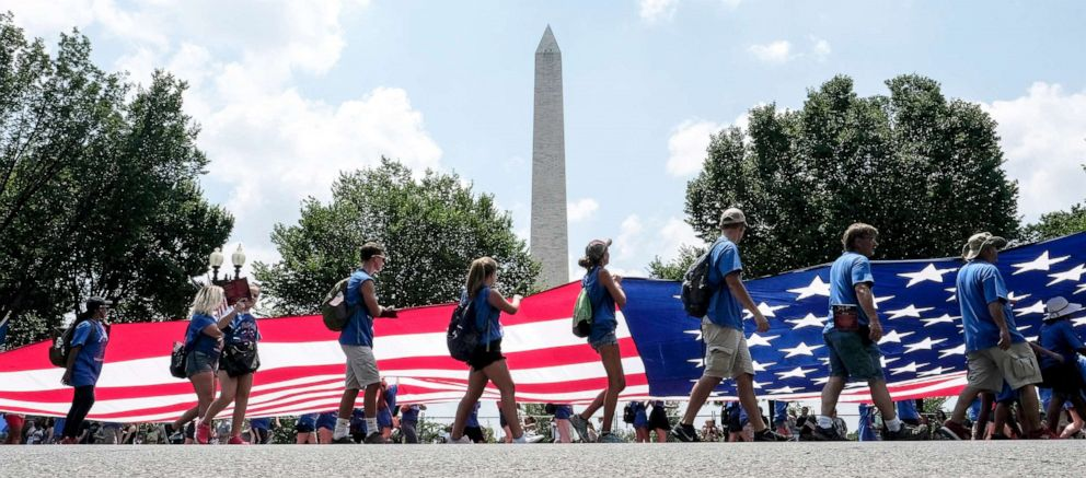 PHOTO: A giant flag is displayed during the National Independence Day Parade in Washington, D.C., July 4, 2018.