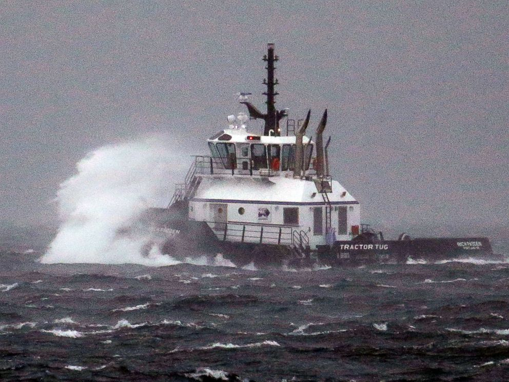 PHOTO: The tugboat, Rich Padden, is battered by waves as it heads out to relocate to a new port on Puget Sound in a windstorm, Nov. 13, 2017, in Seattle.