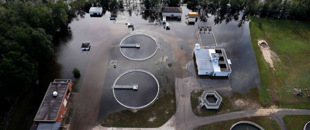 PHOTO: A wastewater treatment plant is inundated from floodwaters in the aftermath of Hurricane Florence in Marion, S.C., Sept. 17, 2018.