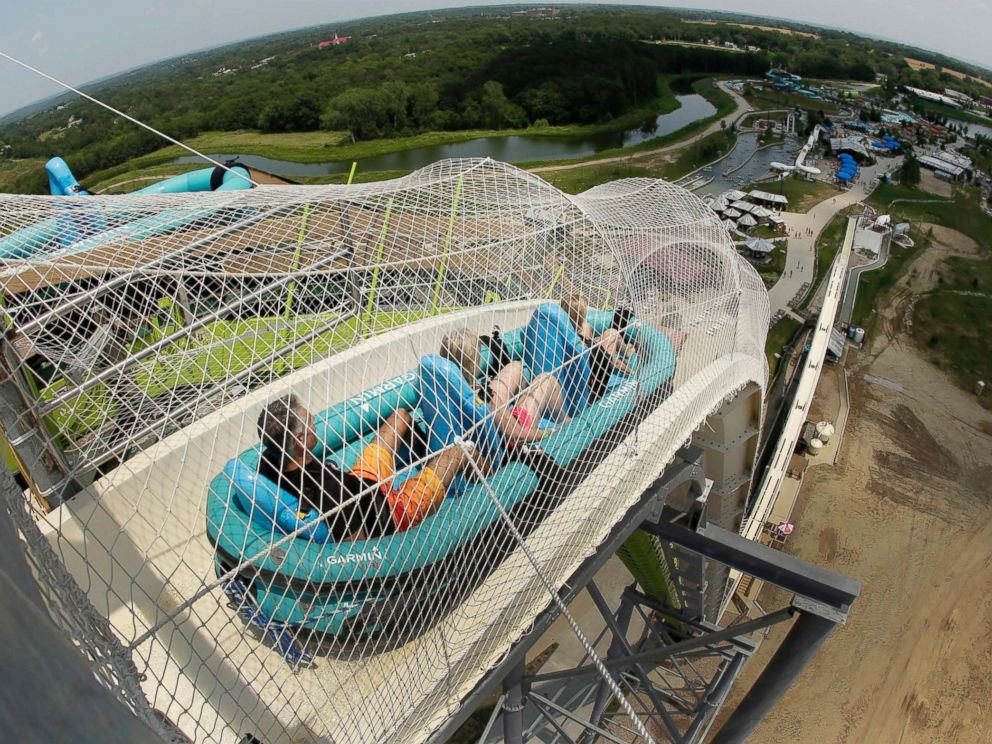 PHOTO: In this July 9, 2014, file photo, riders go down the water slide called Verruckt at Schlitterbahn Waterpark in Kansas City, Kan.