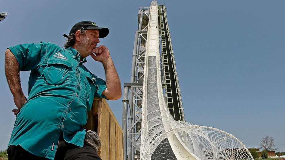"In this July 9, 2014, file photo, ride designer Jeffery Henry looks over his creation, the world's tallest waterslide called ""Verruckt"" at Schlitterbahn Waterpark in Kansas City, Kan."