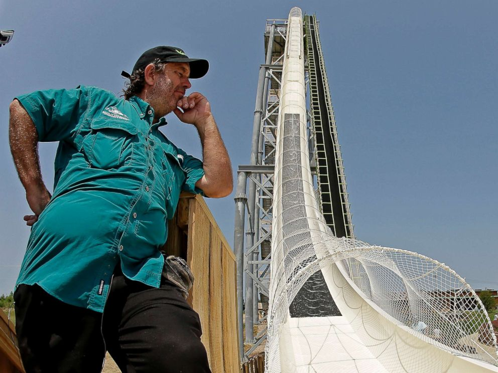 PHOTO: In this July 9, 2014, file photo, ride designer Jeffery Henry looks over his creation, the worlds tallest waterslide called Verruckt at Schlitterbahn Waterpark in Kansas City, Kan.