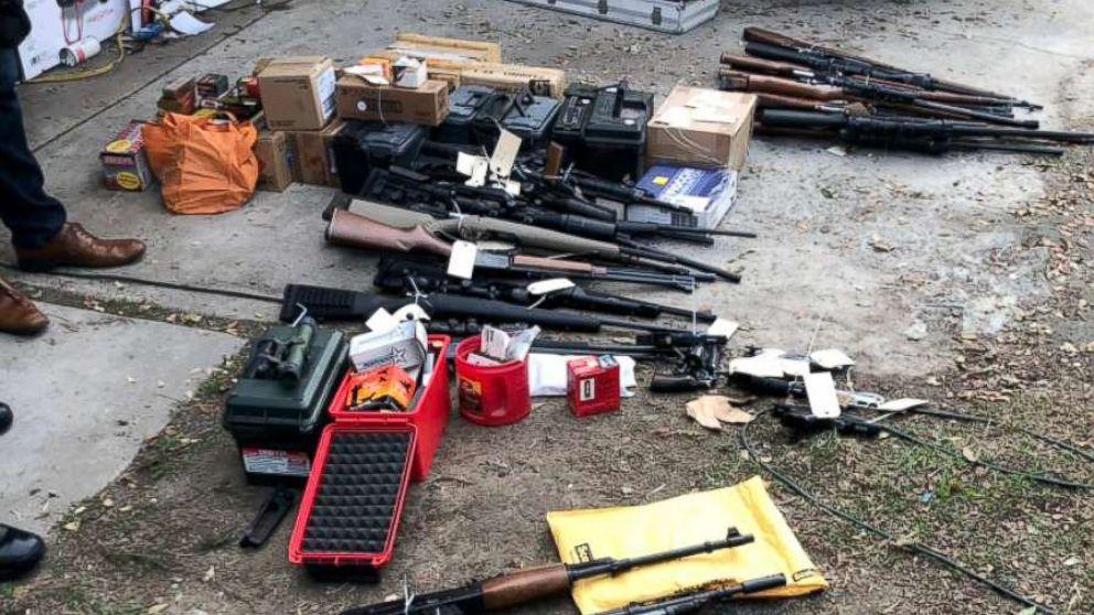 Weapons cache seized at a home in Laguna Beach, Calif., Nov. 27, 2018.