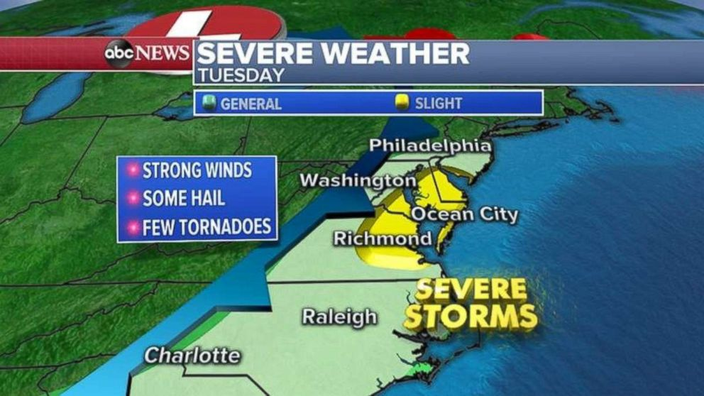 Severe weather is expected today for much of the Eastern Seaboard.