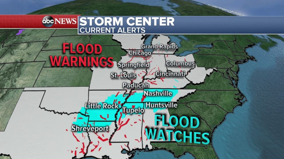 Flood warnings and watches are in effect up and down states on or near the Mississippi River.