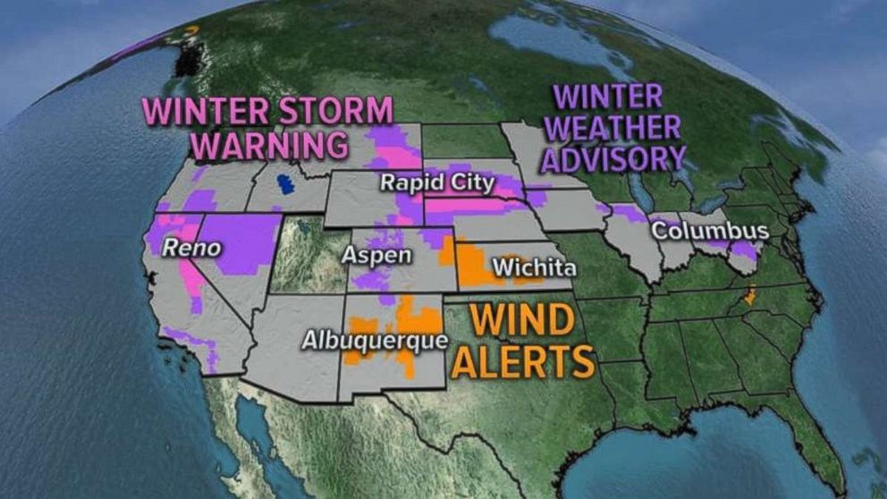 Snow and wind alerts have been issued in 18 states.