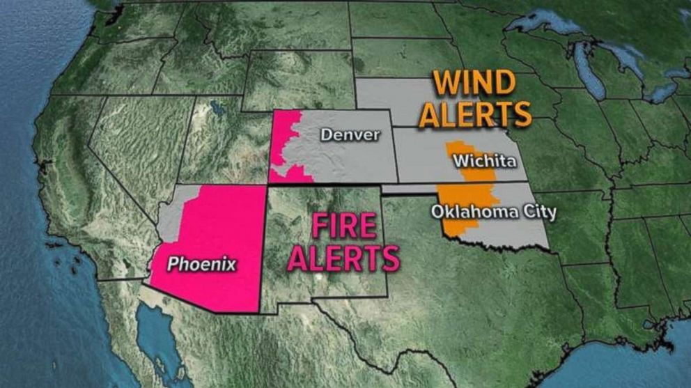 Fire alerts have been issued in large swaths of the Southwest.