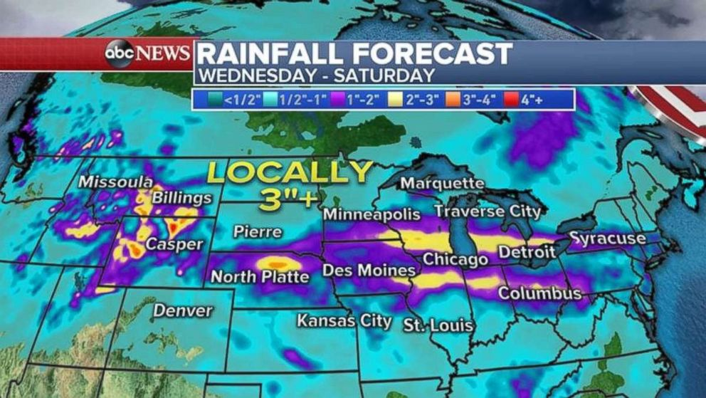 Flood advisories have been issued from Montana to Washington, and much of the upper U.S. likely will see rainfall through Saturday.