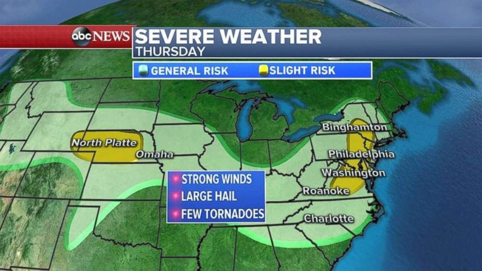 A risk of severe weather today stretches across much of the upper U.S.