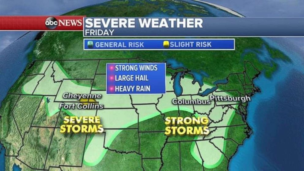 The biggest severe-weather threats today likely will be in Colorado, Wyoming and Nebraska.