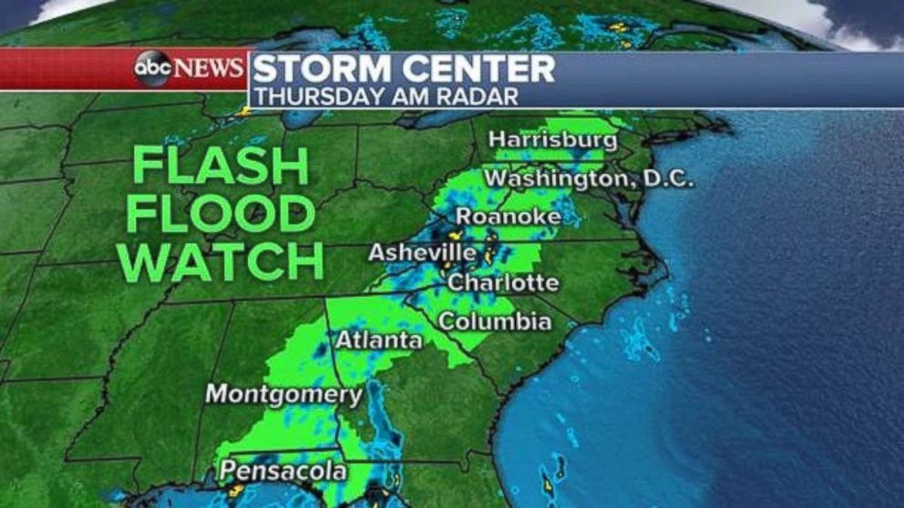 A flash flood watch is in effect this morning from Florida up into New York.
