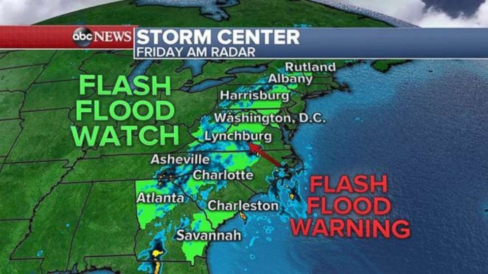 Flash flood watches and warnings are in full effect this morning throughout the mid-Atlantic region.