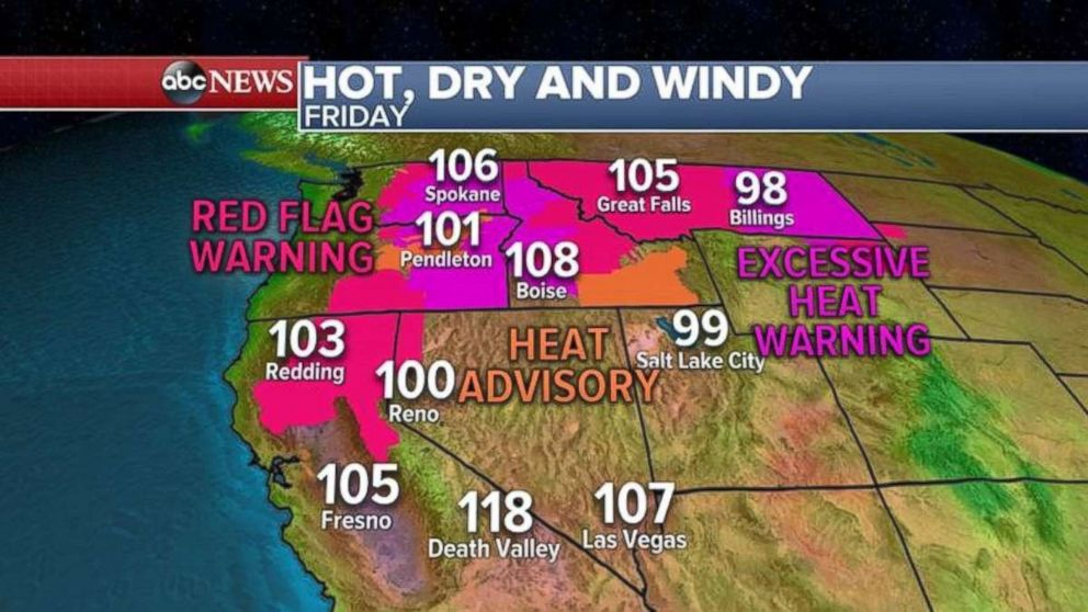 Hot, dry, windy conditions are expected today out West.