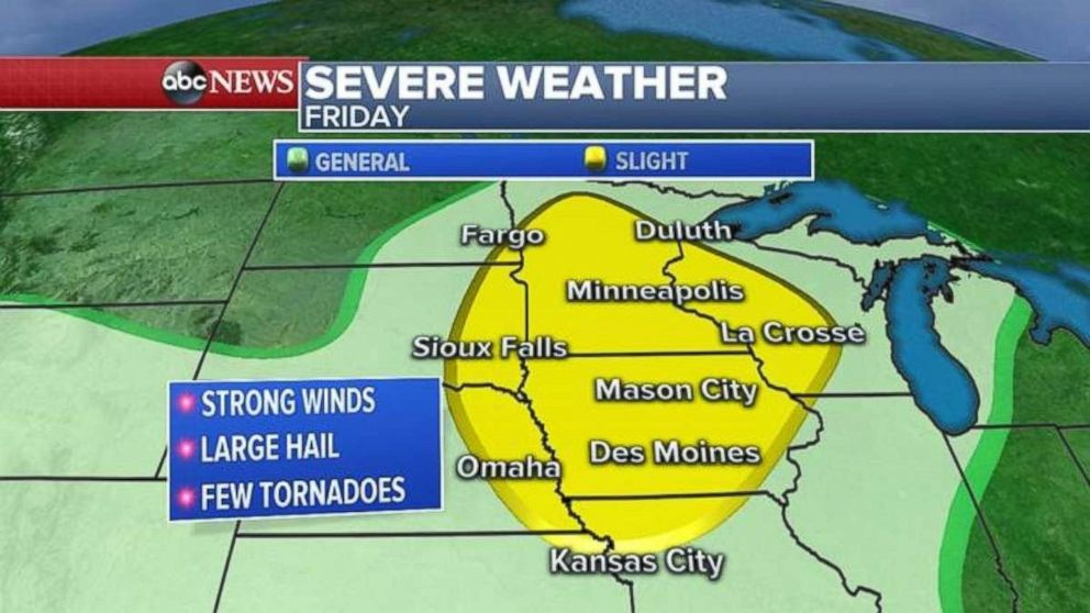 Severe weather today may strike from Kansas City all the way up to Duluth.
