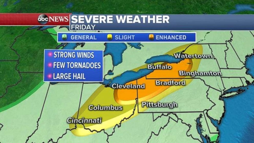 Severe weather is heading into the Northeast today.