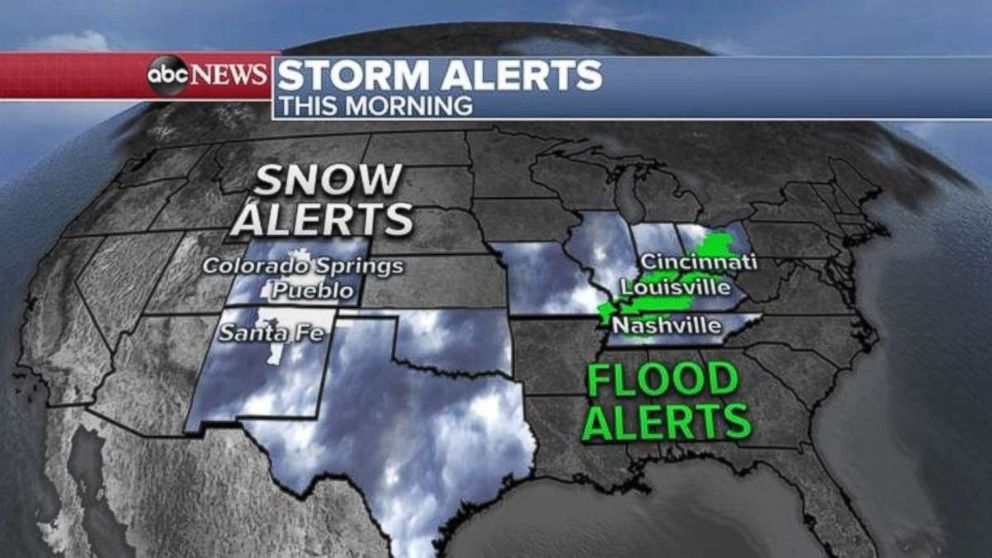 Snow and flood alerts have been issued over a large swath of the country.