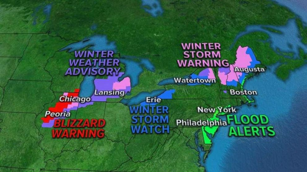 Weather advisories and alerts stretch from the Midwest to the far Northeast this morning.
