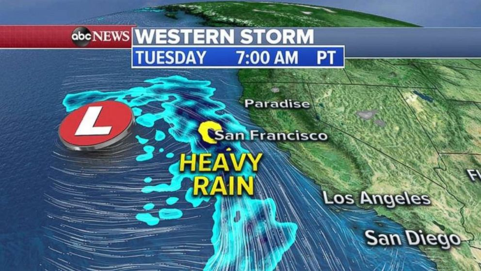 A strong, slow-moving storm is beginning to make its presence felt along the West Coast.