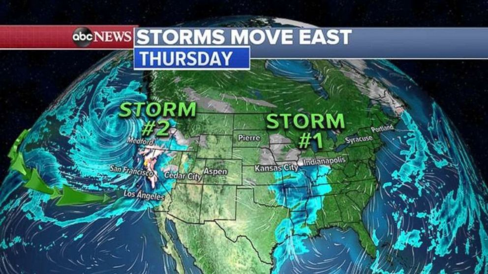 Winter storms are heading east.