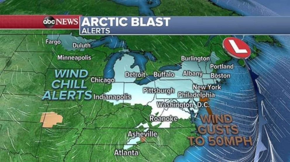 The Arctic blast is producing wind chill alerts and gusts of up to 50 mph.