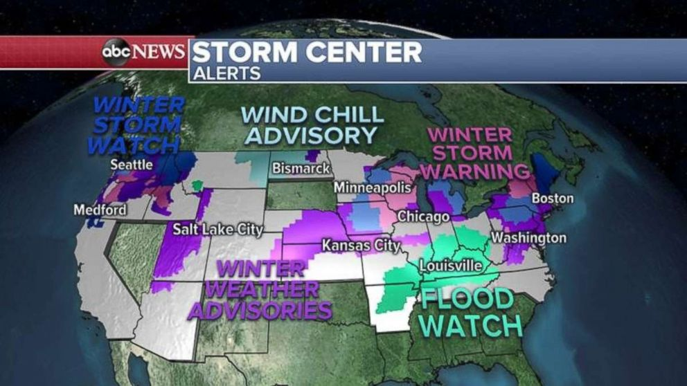 More than three dozen states are under snow, cold or flooding alerts Monday morning.