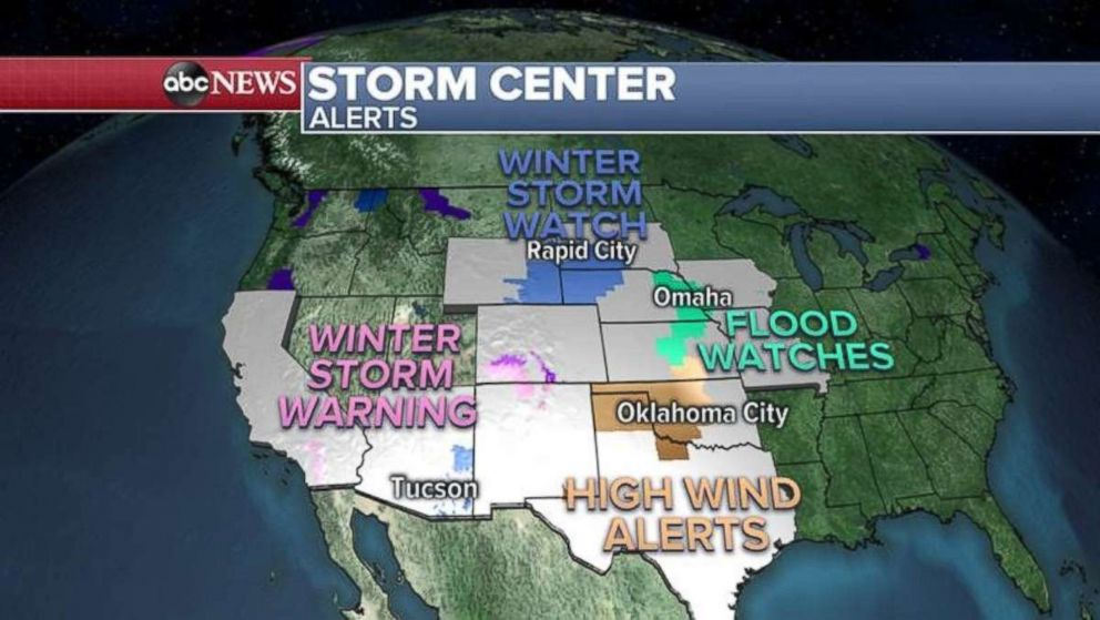 PHOTO: Warnings and alerts have been issued this morning from California to Iowa.