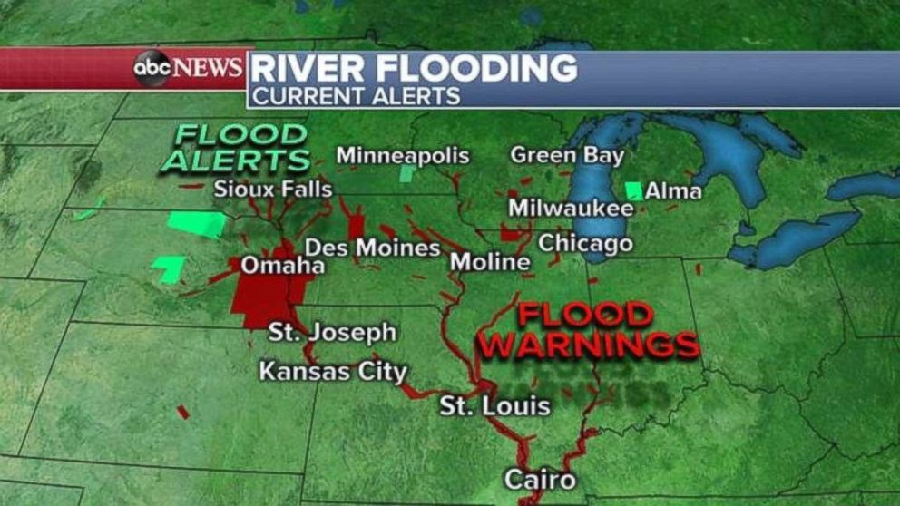 Flood alerts and warnings have been issued this morning in the Midwest.