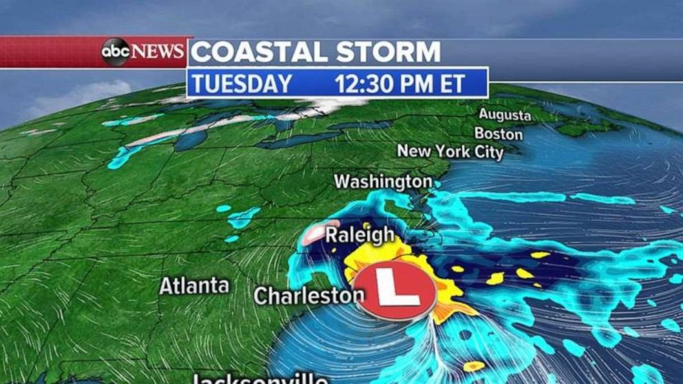 A coastal storm near the Carolinas is in the forecast Tuesday afternoon.