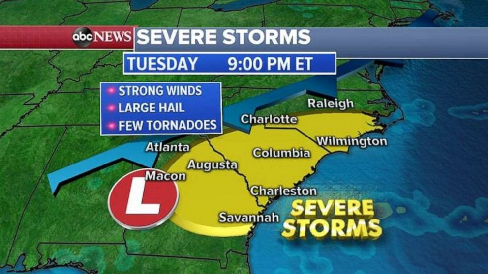 PHOTO: Severe storms are forecast to strike the Southeast tonight.