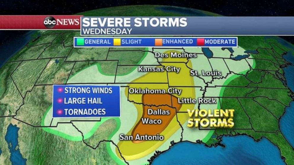 Severe weather on Wednesday will stretch across most of the central U.S.