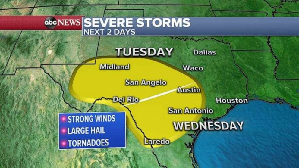 PHOTO: Much of Texas could see severe storms the next two days.