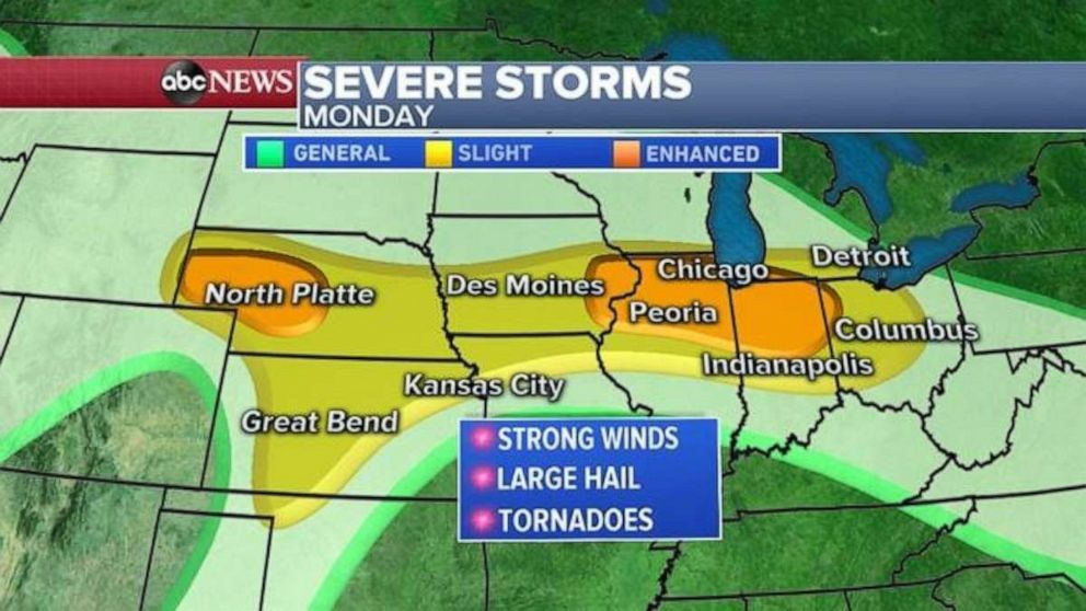 PHOTO: Severe weather is expected Monday in the Midwest.